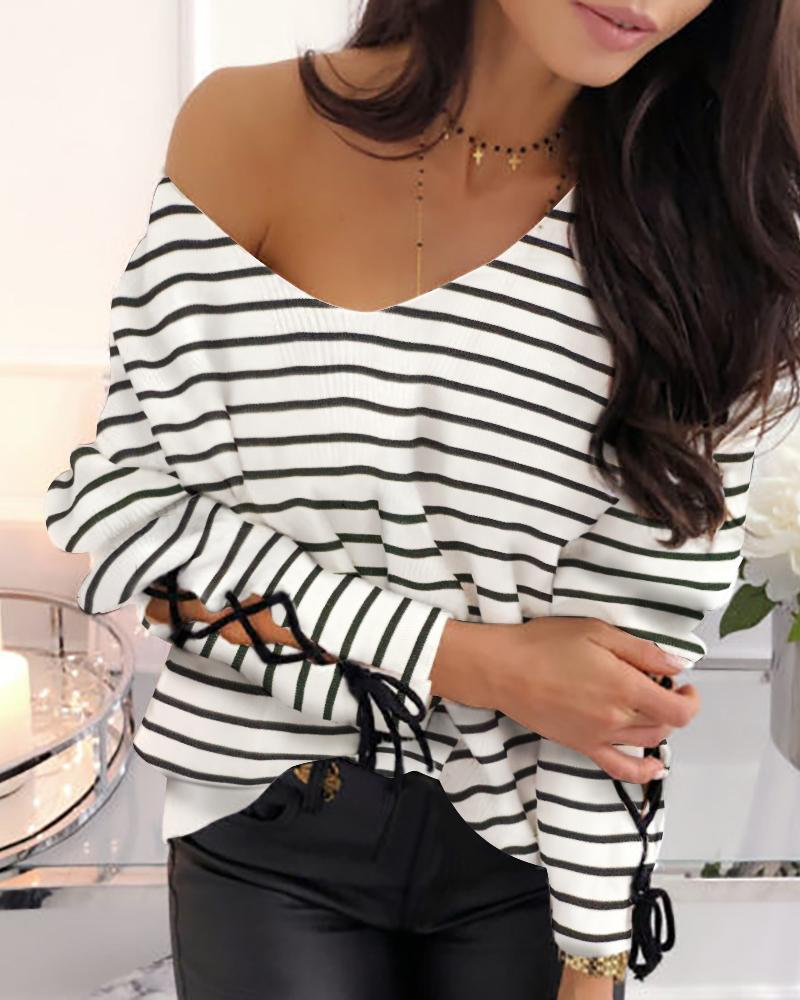 Striped Tied Cuff Casual Blouse