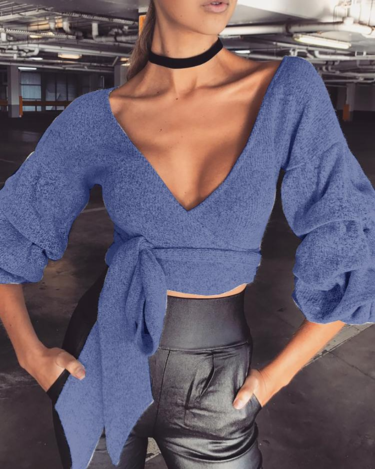 Plunge Neck Puffed Sleeve Tie Waist Crop Top