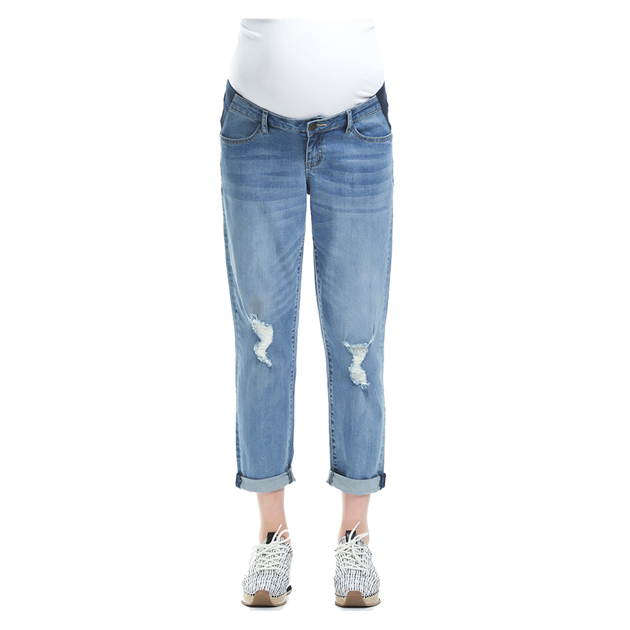 Mums & Bumps Soon Maternity Mila Distressed Slim Boyfriend Maternity Denim