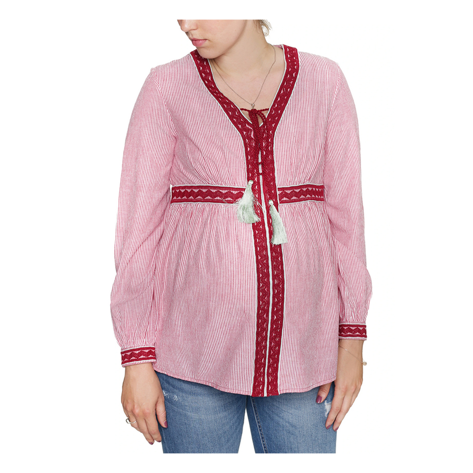 Mums & Bumps Mara Mea Maternity & Nursing Embroidered Blouse Stripes