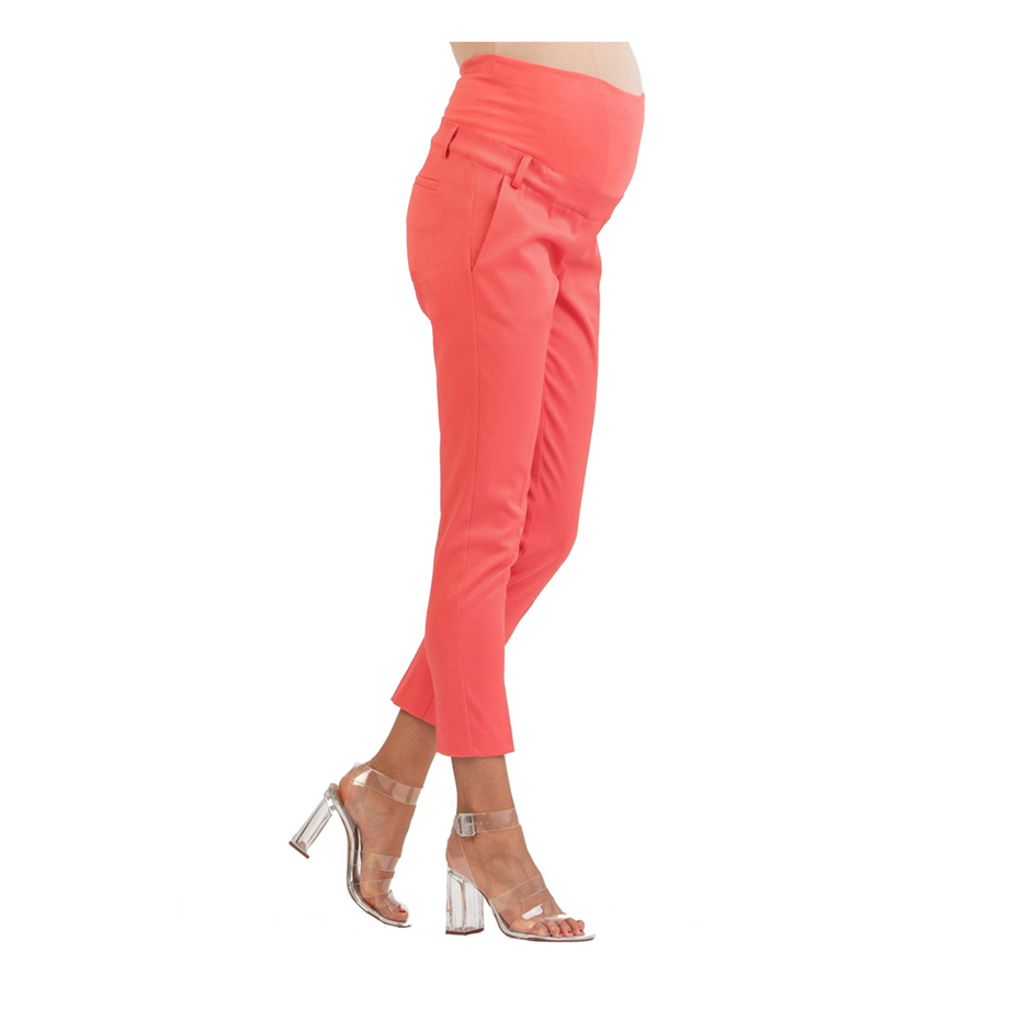 Mums & Bumps Attesa Tailored Maternity Trousers in Pique Coral