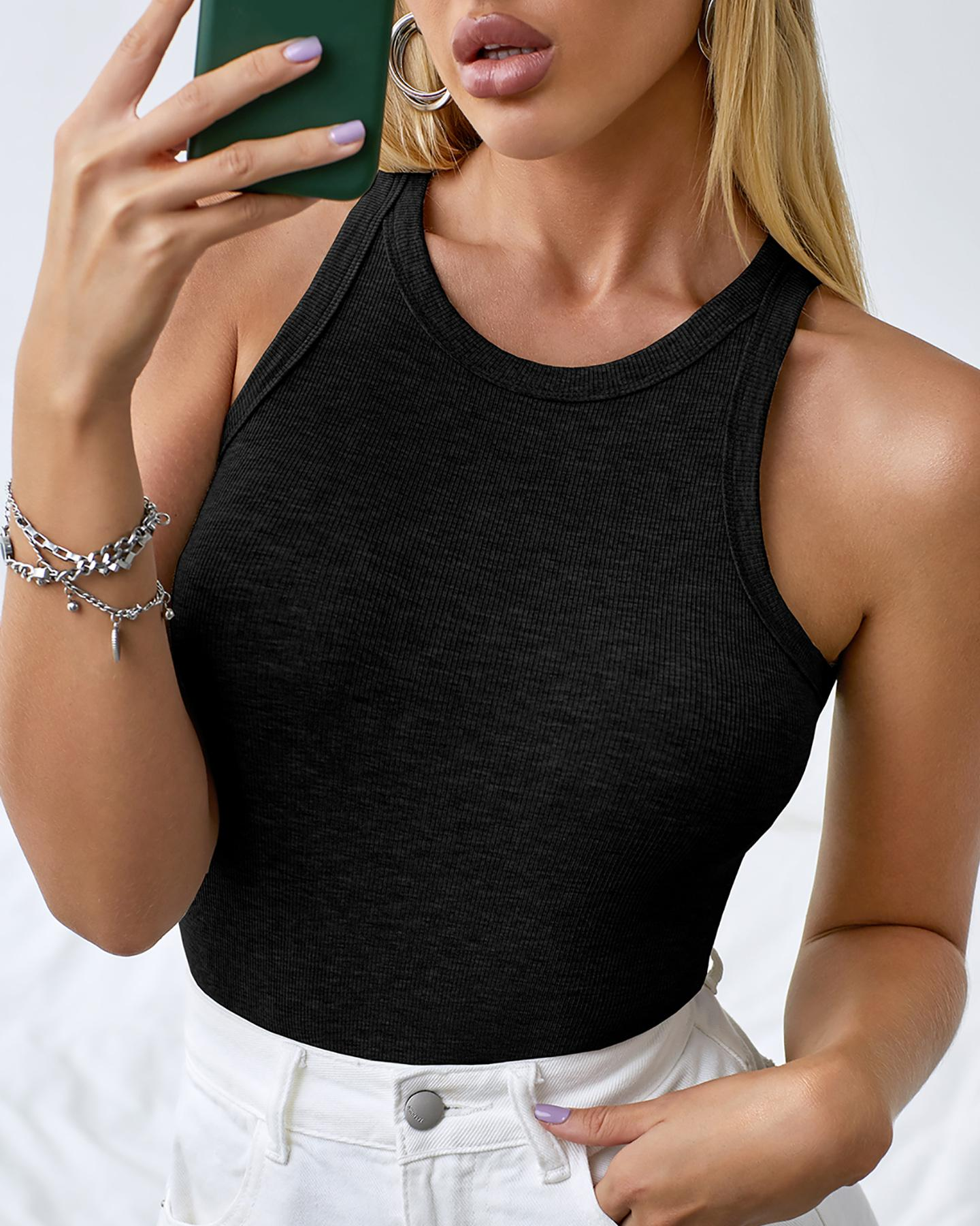 Round Neck Ribbed Sleeveless Casual Top