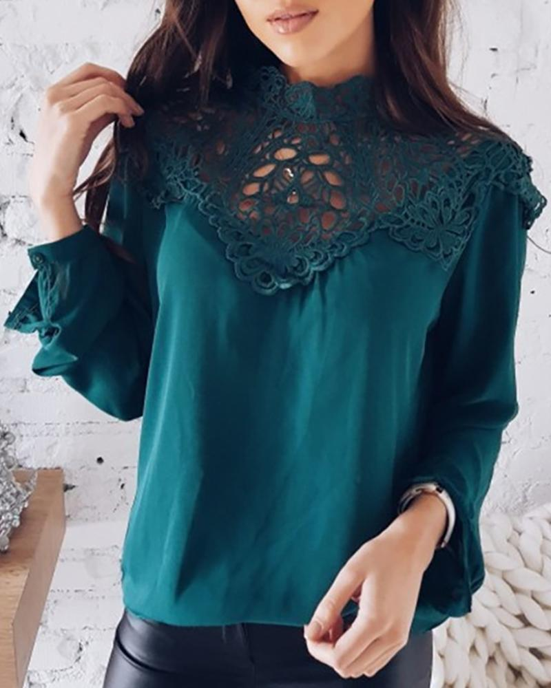 Lace Embroidery Hollow Out Casual Blouse