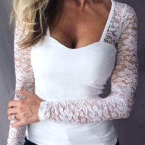 Lace Sleeve Insert Casual Blouse