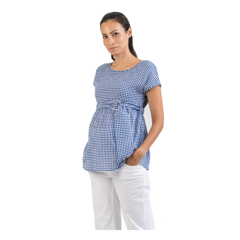 Mums & Bumps Attesa Gingham Maternity Blouse with Belt Blue