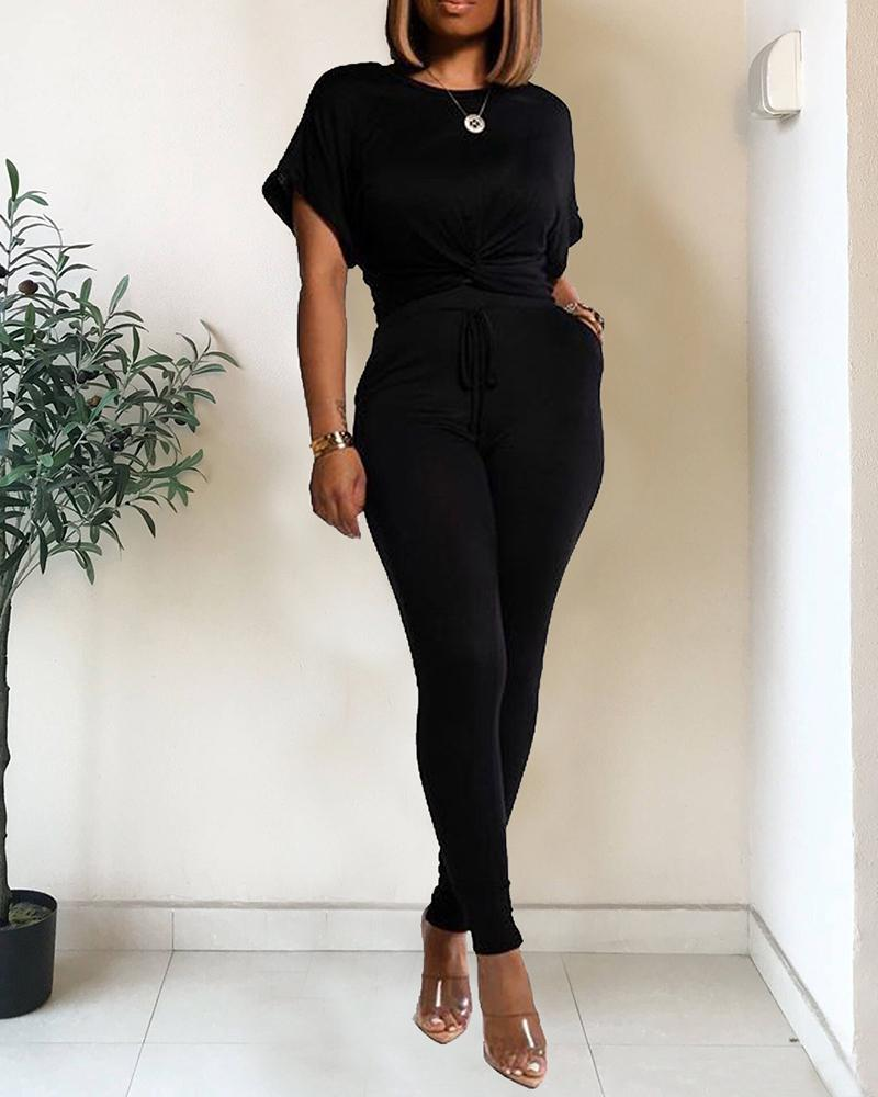 Solid Twisted Casual Top & Drawstring Pant Set