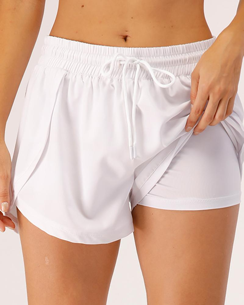 Drawstring Layered High Waist Sporty Shorts