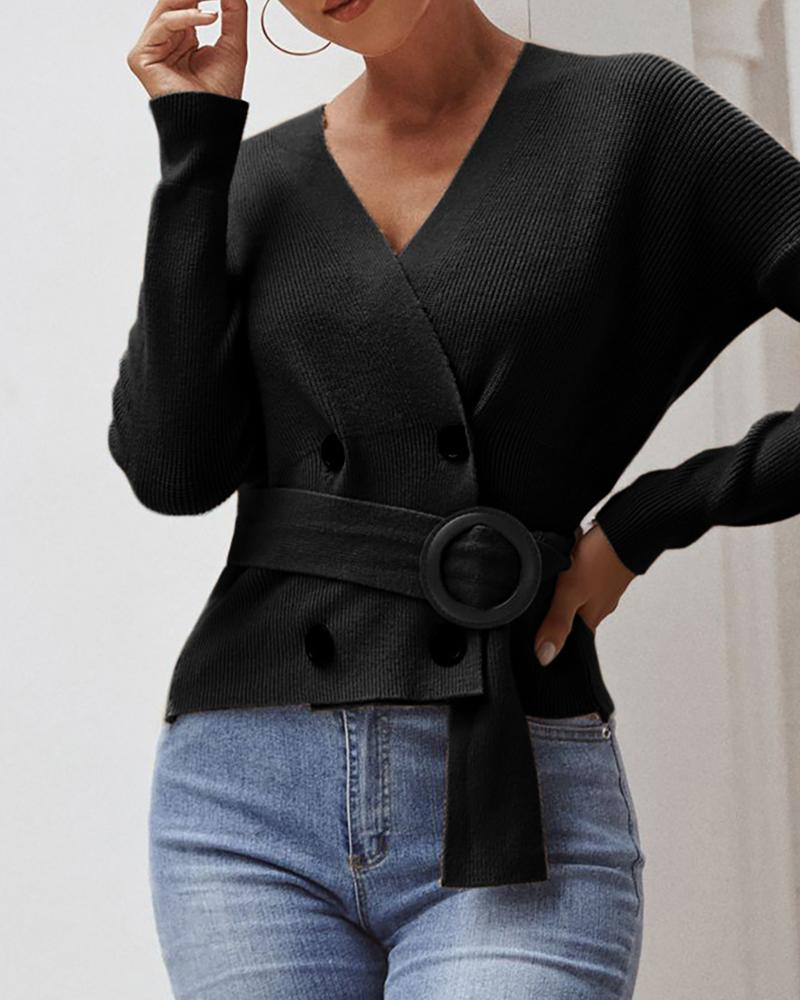 Double Breasted Long Sleeve Casual Sweater