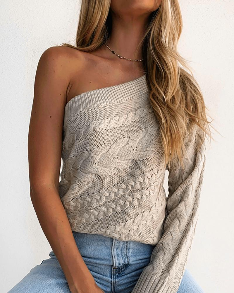 One Shoulder Knit Long Sleeve Sweater