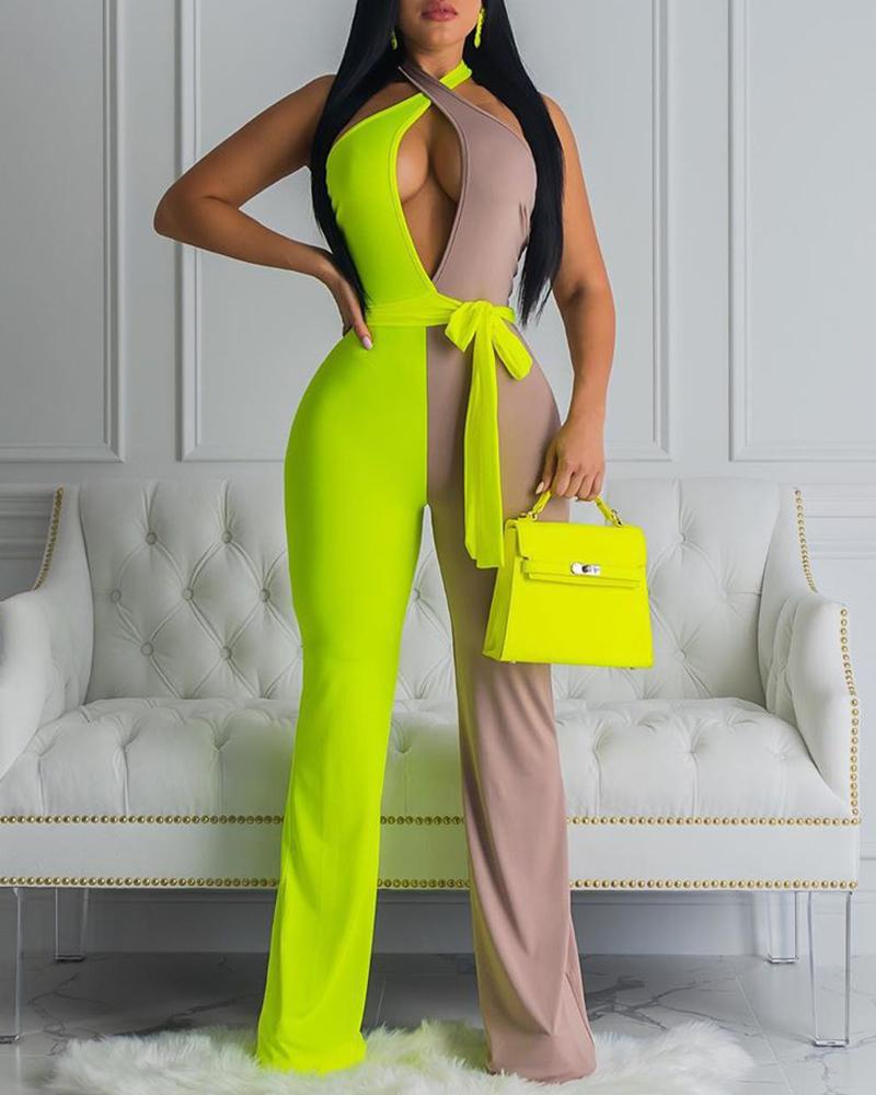 Halter Colorblock Cutout Front Knotted Backless Jumpsuit