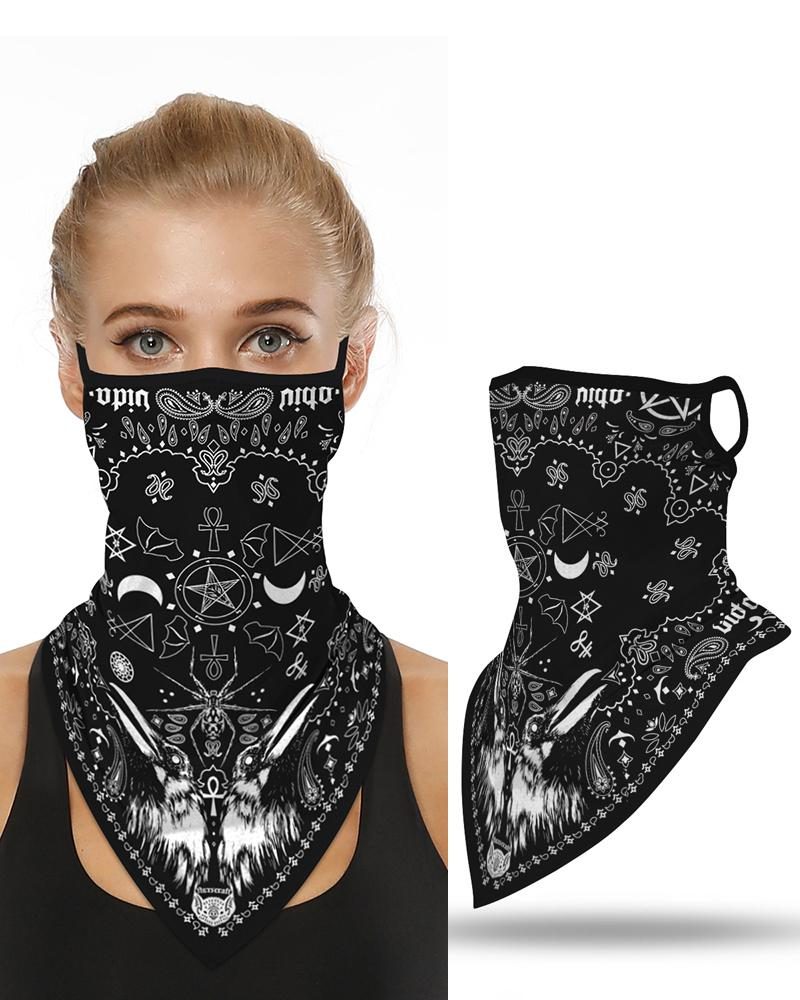 Print Breathable Ear Loop Face Cover Windproof Motorcycling Dust Outdoors Bandana