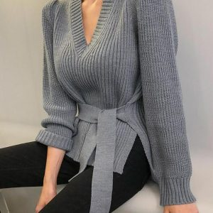 Solid Long Sleeve Slit Knit Sweater