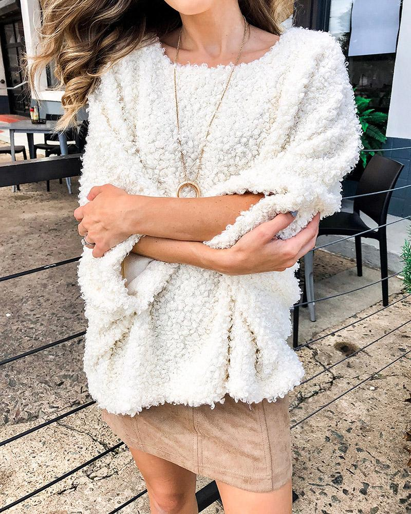 Fluffy Long Sleeve Loose Casual Sweater