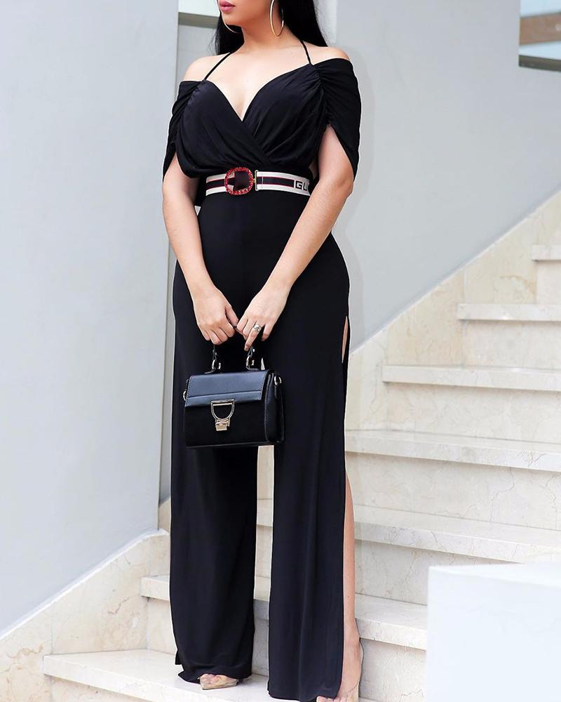 Solid Cold Shoulder High Slit Jumpsuit