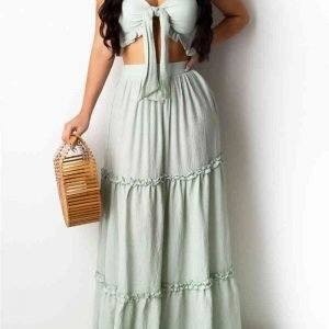 Sexy Fashion Strapless Tops Long Skirt Cyan Set
