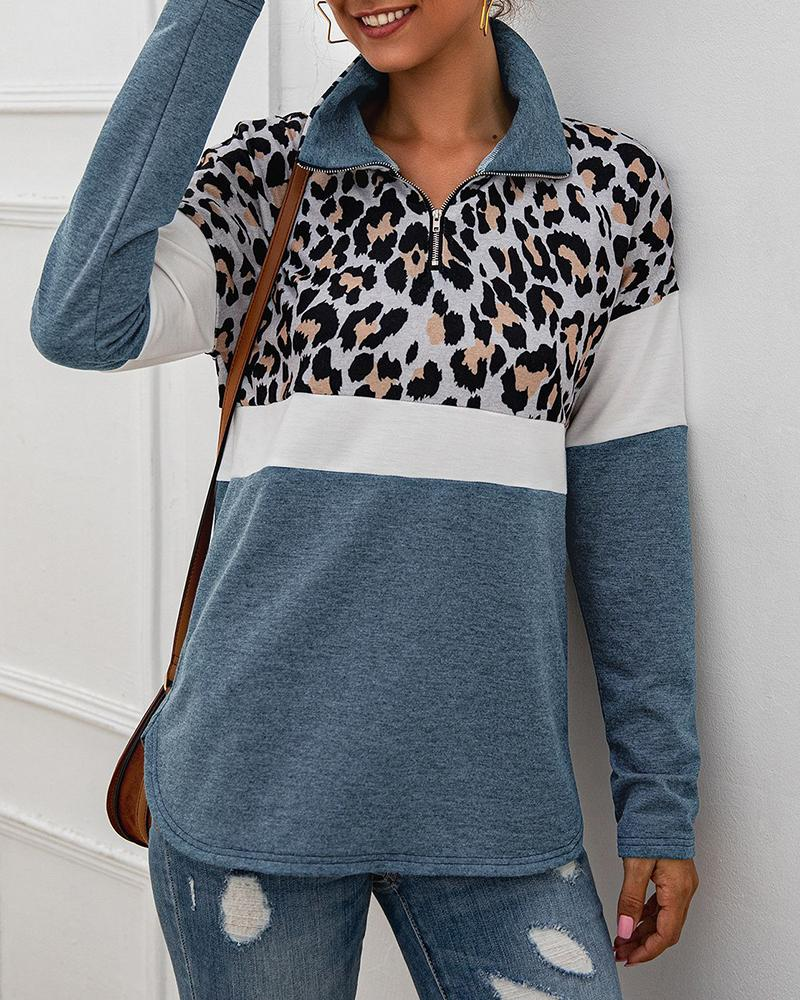 Leopard Colorblock Zipped Design Casual Sweatshirt