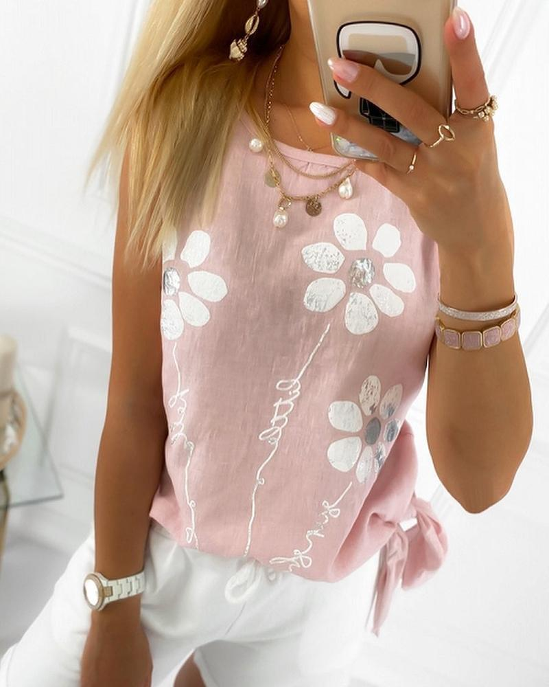 Floral Pattern Tied Detail Casual Tank Top