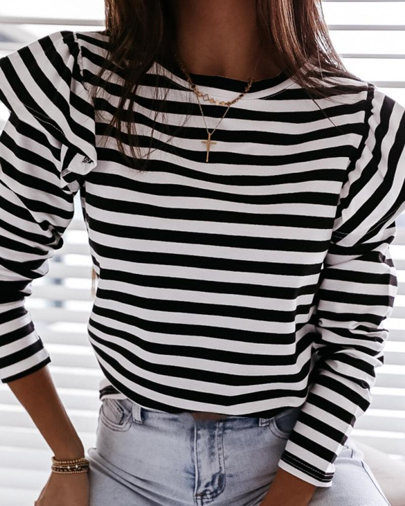 Striped Long Sleeve Casual Top