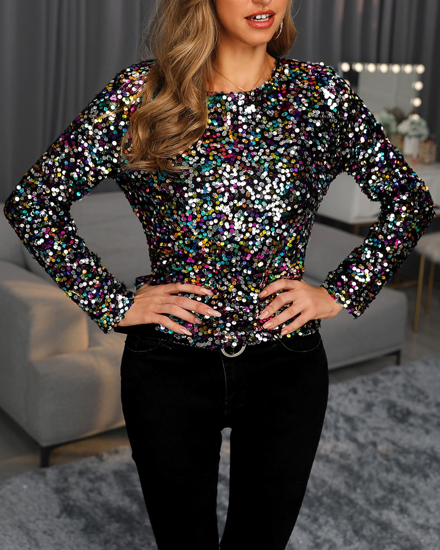 Colorful Sequins Long Sleeve Top