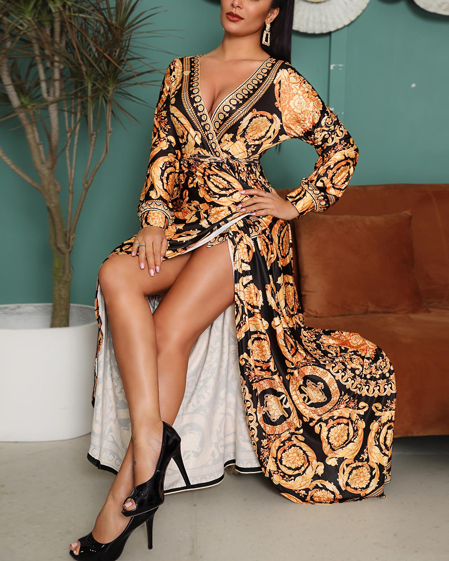 Print Long Sleeve Maxi Dress