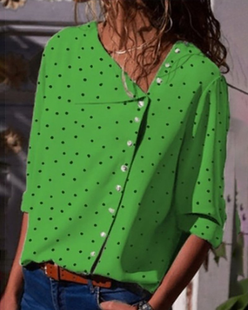 Button Up Dot Print Casual Blouse