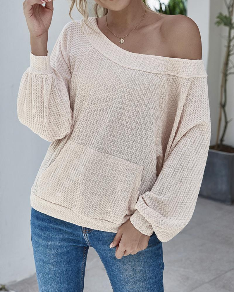 Solid Long Sleeve Loose Backless Sweaters