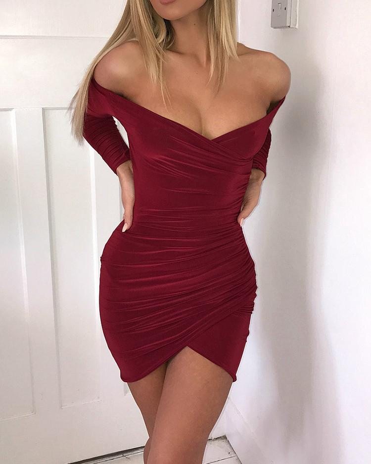 Sexy Ruched Off Shoulder Mini Dress
