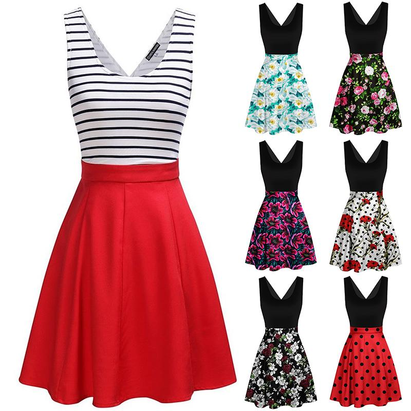 Sexy Women's Fashion Cross Open Back Cocktail Vintage Inspired Rockabilly Swing Printed Dress