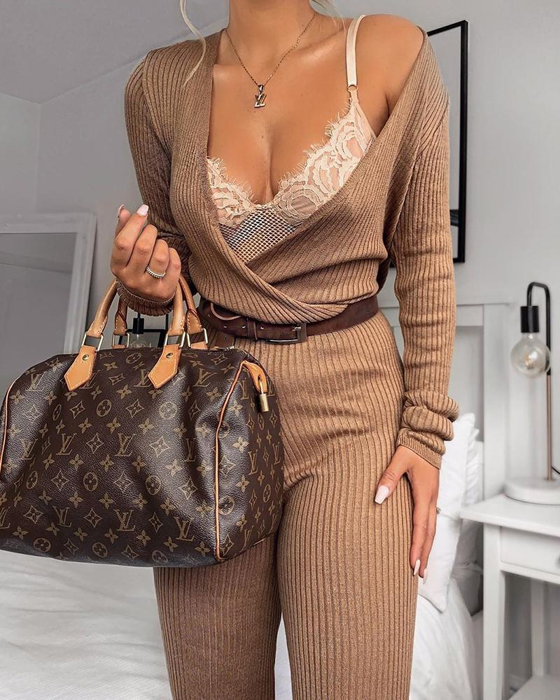 Long Sleeve Ribbed Casual Jumpsuit