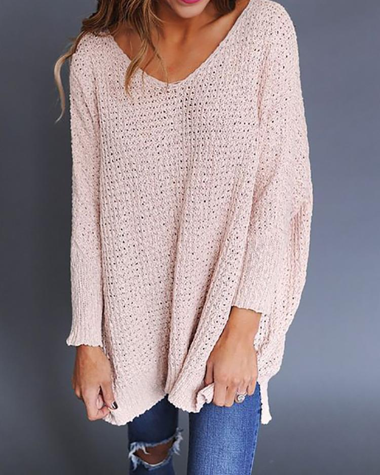Fashion V Neck Knitted Loose Knitted Sweater