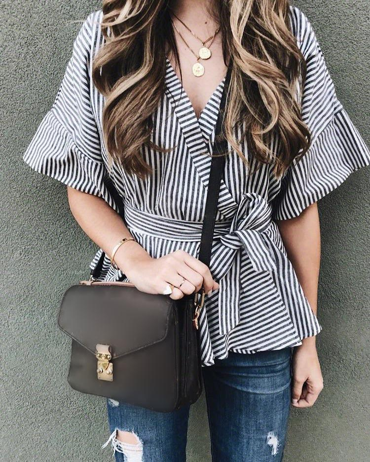 Striped Flared Sleeve Tied Waist Peplum Blouse
