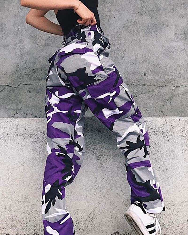 Camouflage Pocket Design Cargo Pants