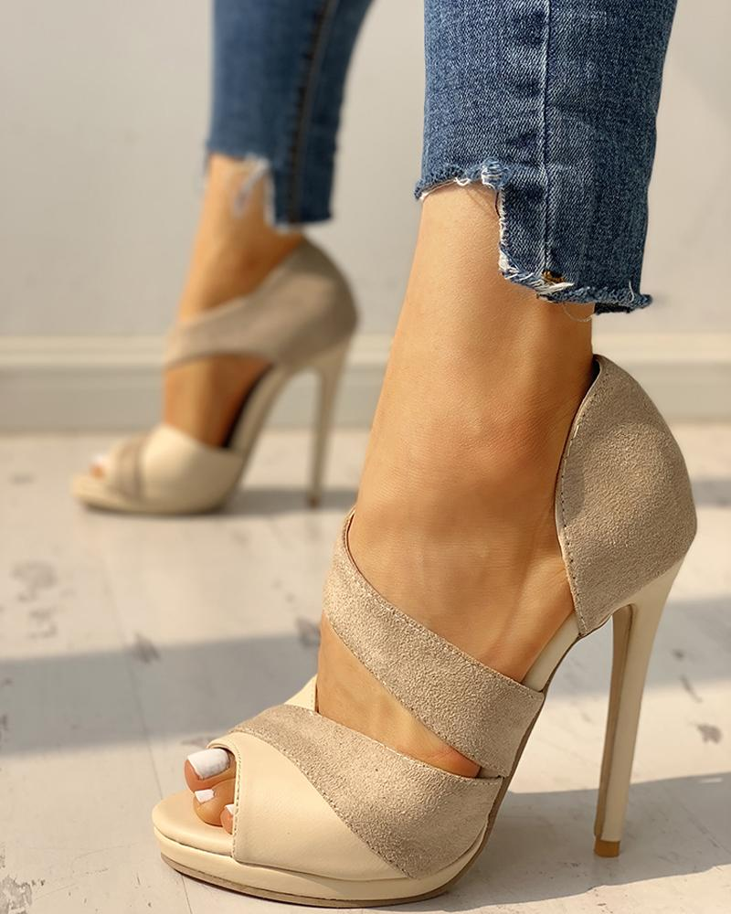 Suede Peep Toe Cut Out Thin Heels