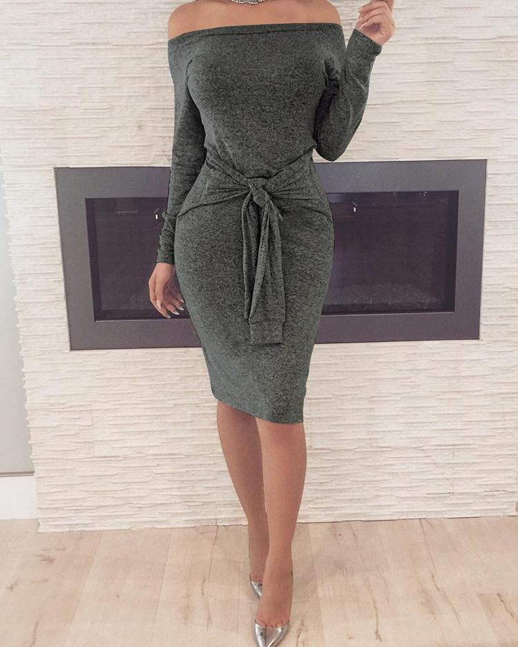 Off Shoulder Long Sleeve Knotted Bodycon Dress