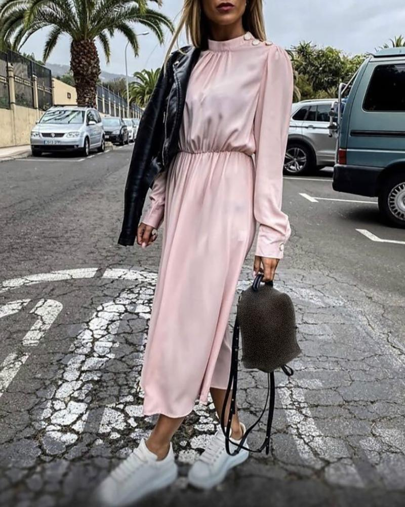 Solid Satin Cinched Waist Long Sleeve Dress