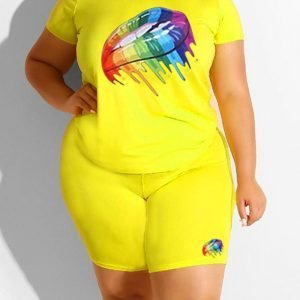 Fashion Casual Printed Yellow Short Sleeve Shorts Set