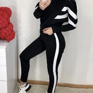 Striped Tape Colorblock Hooded Top & Pants Set