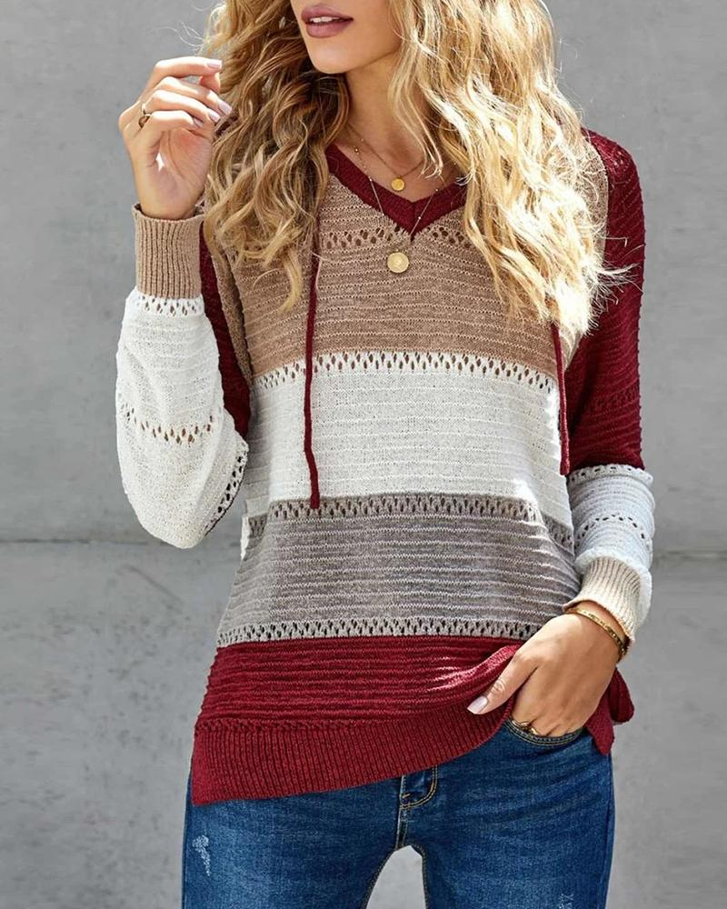 Knit Colorblock Hollow Out Hooded Sweater