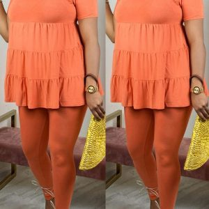 Fashion Casual Loose Top Orange Two Piece Set