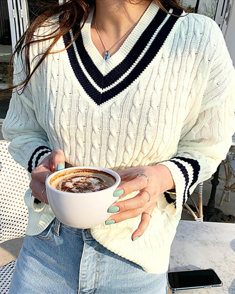 Colorblock Long Sleeve Cable Knit Sweater