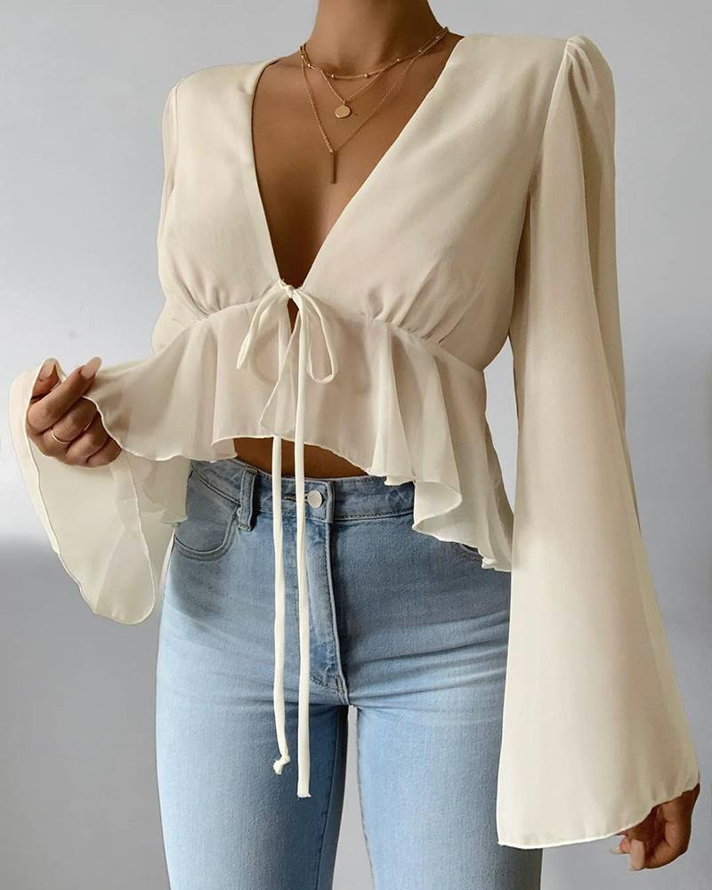 Solid Bell Sleeve Ruffles Blouse