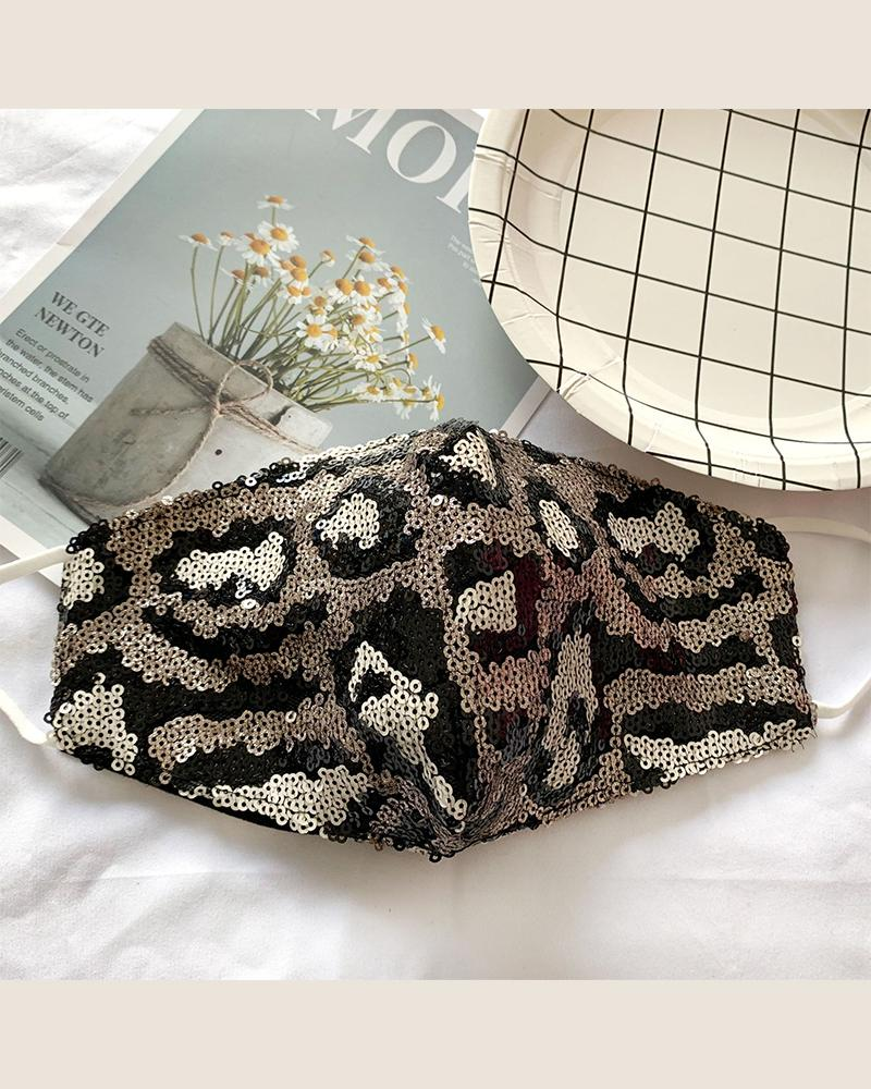 Cheetah Sequins Dust-proof Face Mask