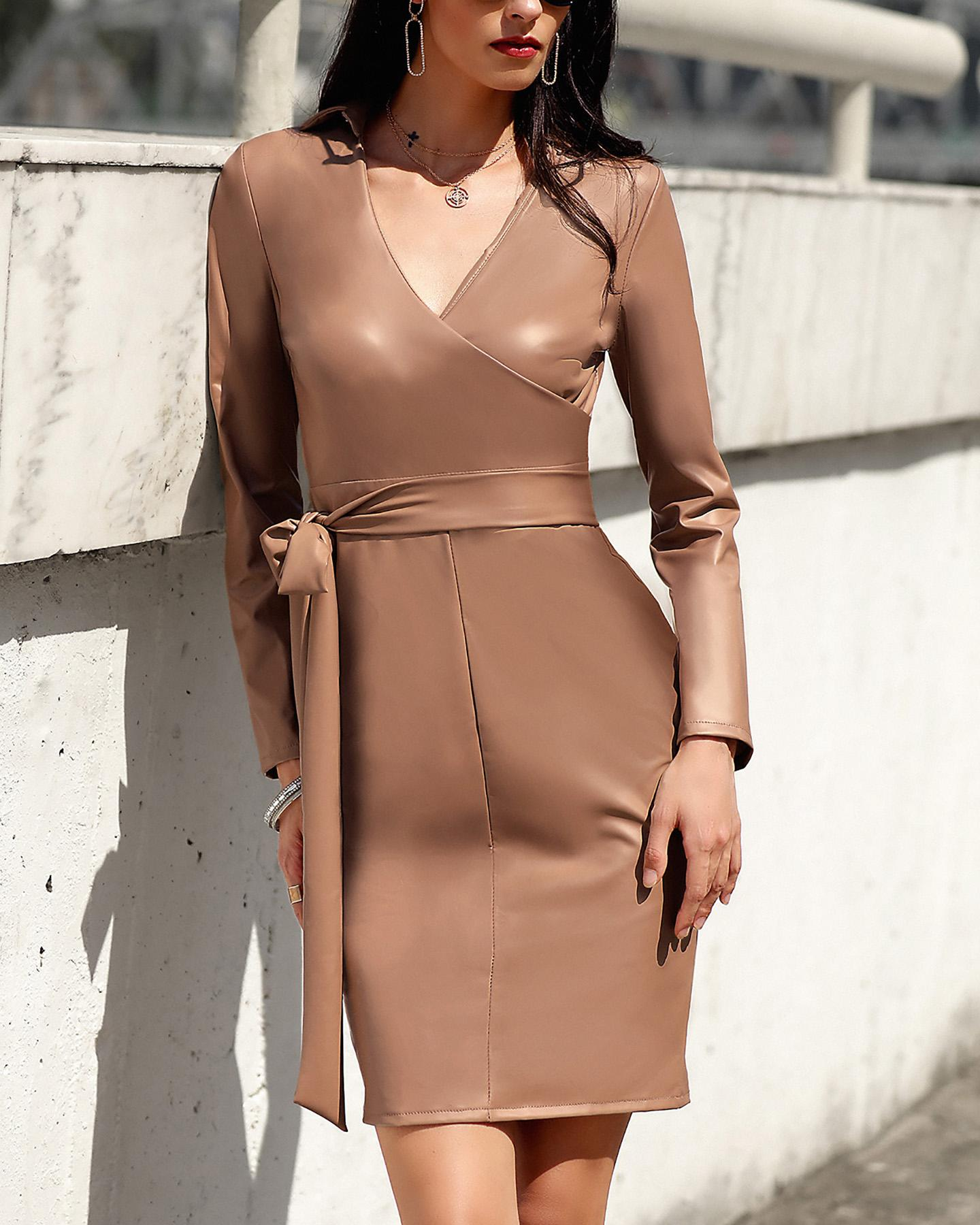 Plunge Bowknot Detail Long Sleeve Bodycon Dress