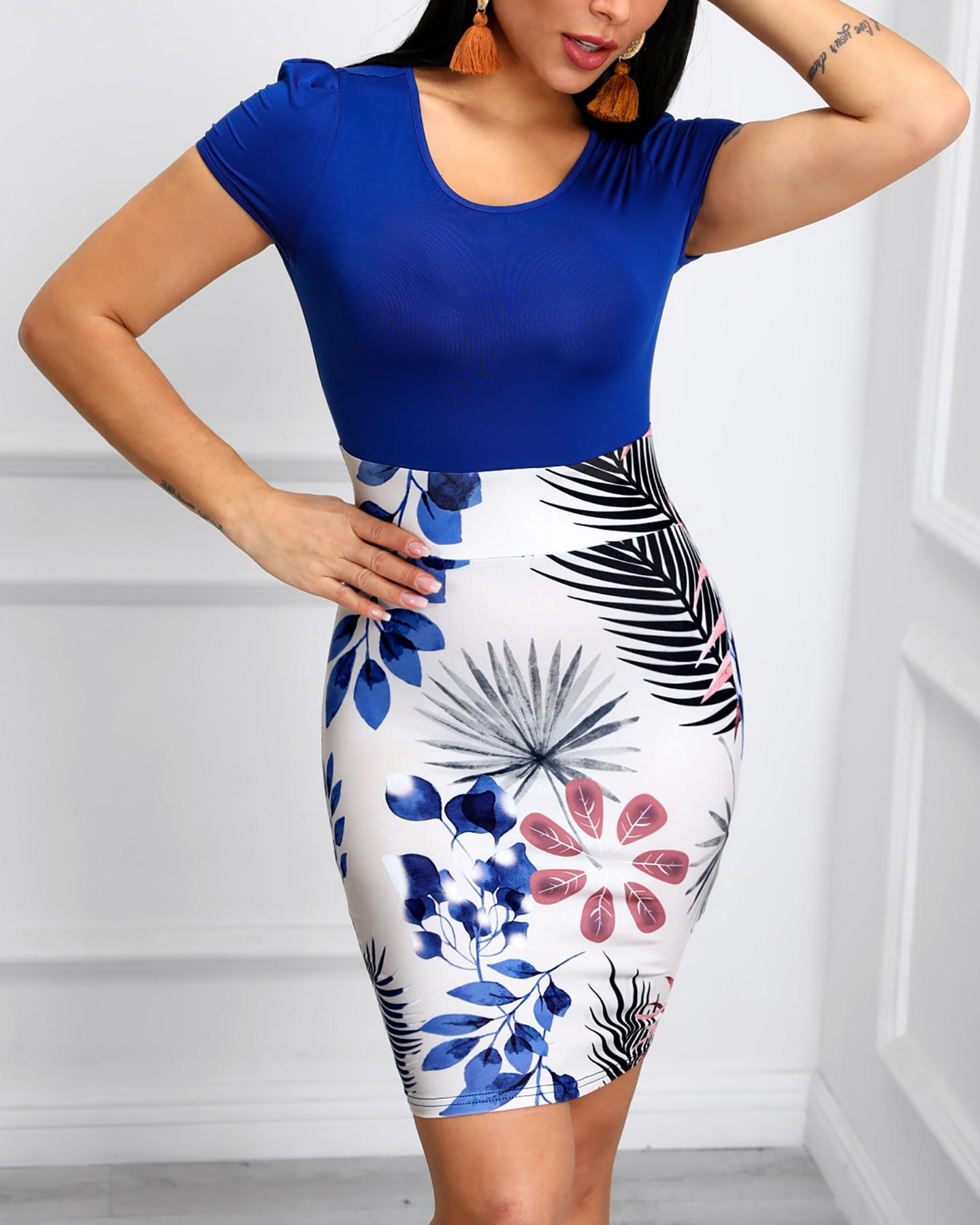 Short Sleeve Tropical Print Bodycon Dress