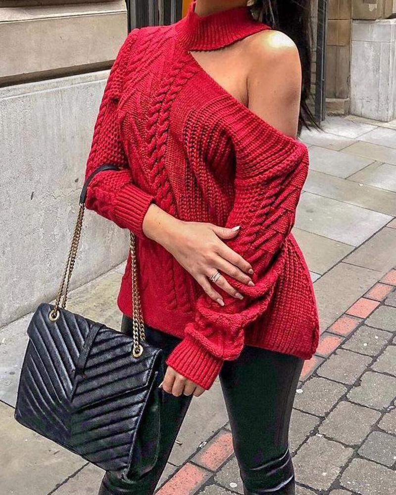 Turtleneck One Shoulder Loose Knit Sweater