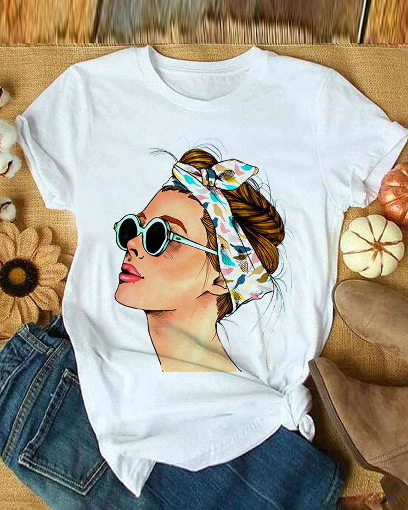 Figure Print Causal T-shirt