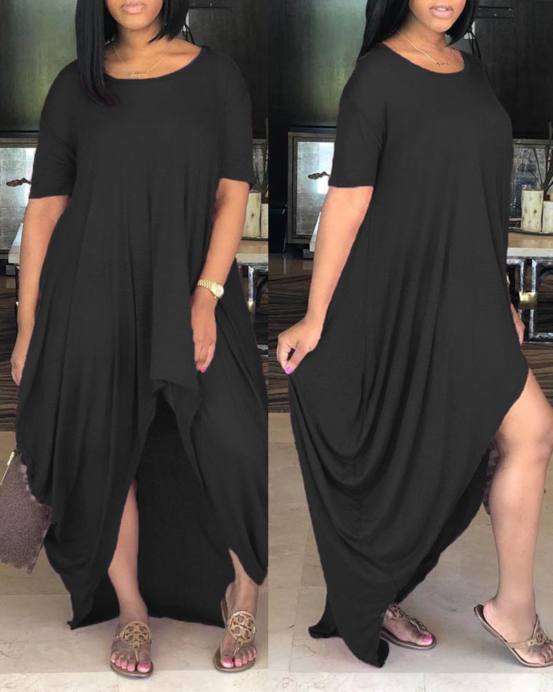 Solid Ruched Dip Hem Irregular Loose Dress