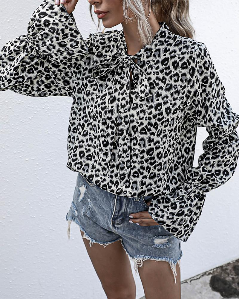 Leopard Long Sleeve Loose Bowknot Blouse