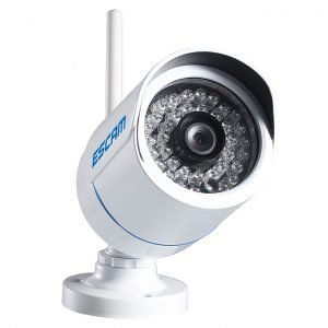 "ESCAM Q6320WiFi 1/4"" CMOS 1.0MP WiFi 720P 24pcs IR LED Waterproof Metal Housing Security CCTV IP Camera with ONVIF P2P  - White"