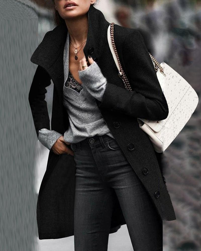 Solid Long Sleeve Buttoned Longline Coat